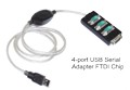 Premium FTDI Chip 4-Port USB to RS232 Serial Converter Cable 6ft.Long