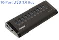 USB Hub SuperSpeed 3.0 10-Port Aluminum Shell Case with LED Activity