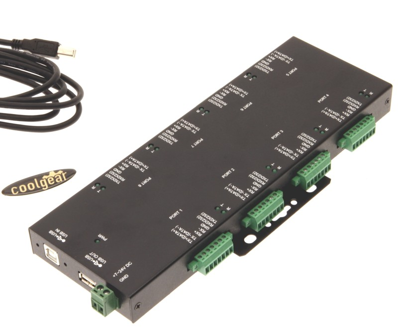 Industrial Serial Adapters Rugged Industrial 8-Port Terminal Block